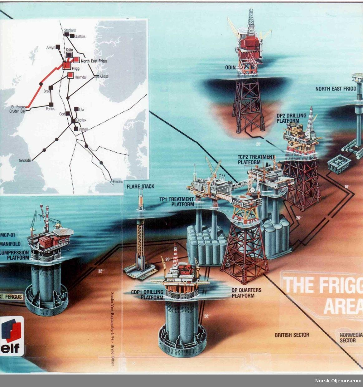 Tegning av FriggFeltet med tilstøtende installasjoner samt rørlednings- nett i Nordsjøen.