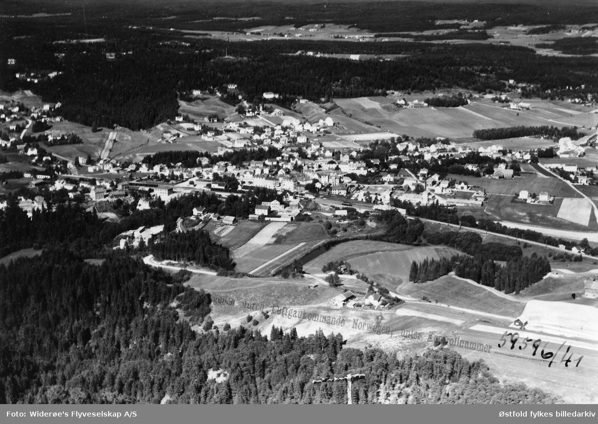 Oversiktsbilde fra Mysen sentrum i Eidsberg, tatt før 1940.
