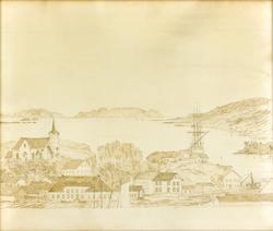 Tegning av Øya i Brevik