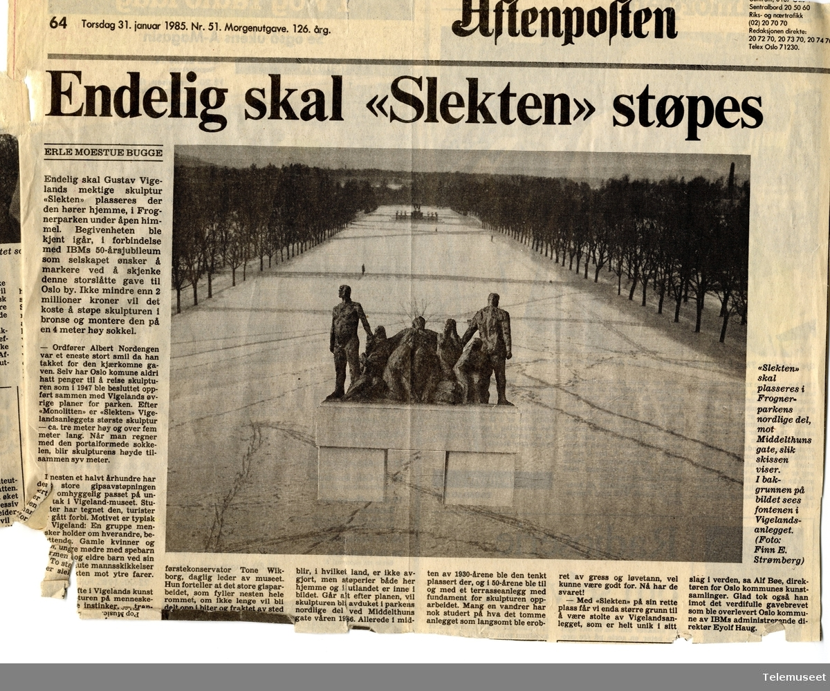 "IBMs 50 års jubileumsgave ""Slekten"" til kommune. Aktuelt juni 1985. Frognerparken, Gustav Vigeland"