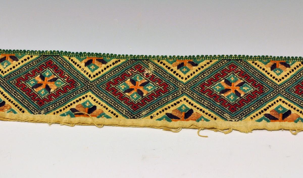Fra protokollen: Smöig, store sorte ruter med grønne kanter, mæander-bord i rødt, 8-blad-rose i brunt og gult, grønne tagger. Halskvarde til kvinneskjorte fra Øst-Telemark.