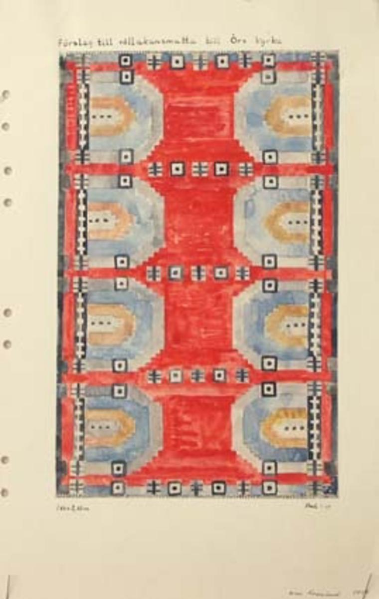 Två skisser med förslag till rölakansmatta till Örs kyrka.(En uppvävd kormatta i rölakan till Ör kyrka finns fotograferad, dock saknas skissen, mönstret är snarlikt 4073:2 men med andra färgval.)GHKL 4073:1 Förslag till rölakanmatta till Ör kyrka 1,80 x 2,85 m.Skisstorlek ca 18 x 28,5 cm, skala 1:10.GHKL 4073:2 Förslag till rölakanmatta till Ör kyrka 1,80 x 2,85 m.Skisstorlek ca 18 x 28,5 cm, skala 1:10.BAKGRUNDHemslöjden i Kronobergs län är en ideell förening bildad 1990. Den ideella föreningen ersatte Kronobergs läns hemslöjdsförening bildad 1915.Kronobergs läns hemslöjdsförening hade butiksverksamhet och en vävateljé med anställda väverskor och formgivare där man vävde på beställning till offentliga miljöer, privatpersoner och till olika utställningar.Hemslöjden i Kronobergs län har idag ett arkiv med drygt 3000 föremål, mönster och skisser från verksamheten och från länet. 1950-talet var de stora beställningarnas tid och många skisser och mattor till kyrkorna kom till under detta årtionde.
