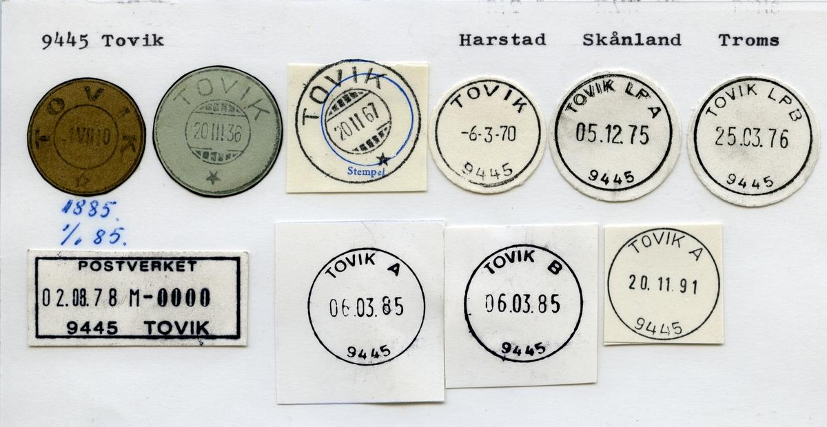 Stempelkatalog 9445 Tovik, Harstad, Skånland, Troms