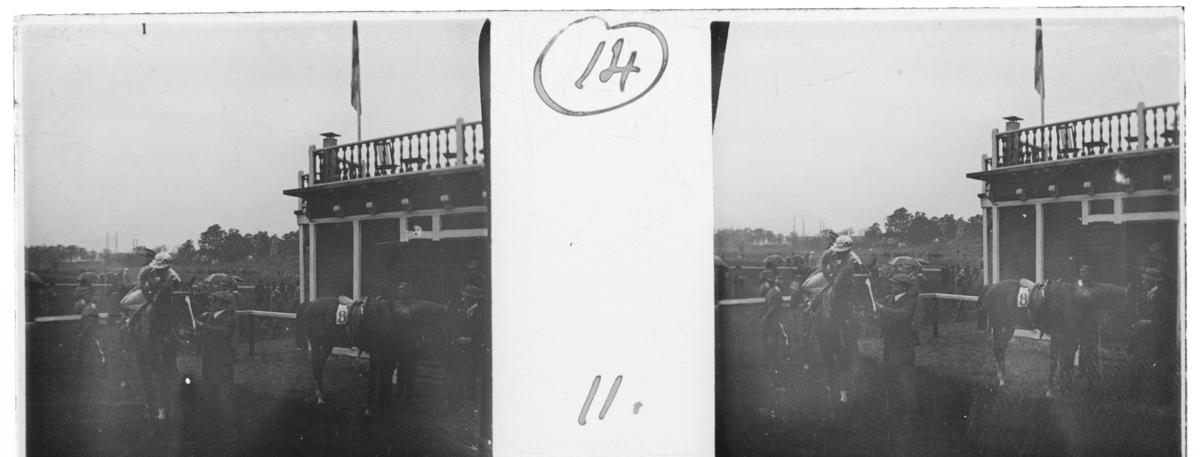 'Människor och hästar vid galoppbana med byggnad i bakgrunden. :: Enligt text till fotot: ''Horse-races, Lindarängen, 1.6.'14. ::  :: Ingår i serie med fotonr. 5247:1-20, se även hela serien med fotonr. 5237-5267.'