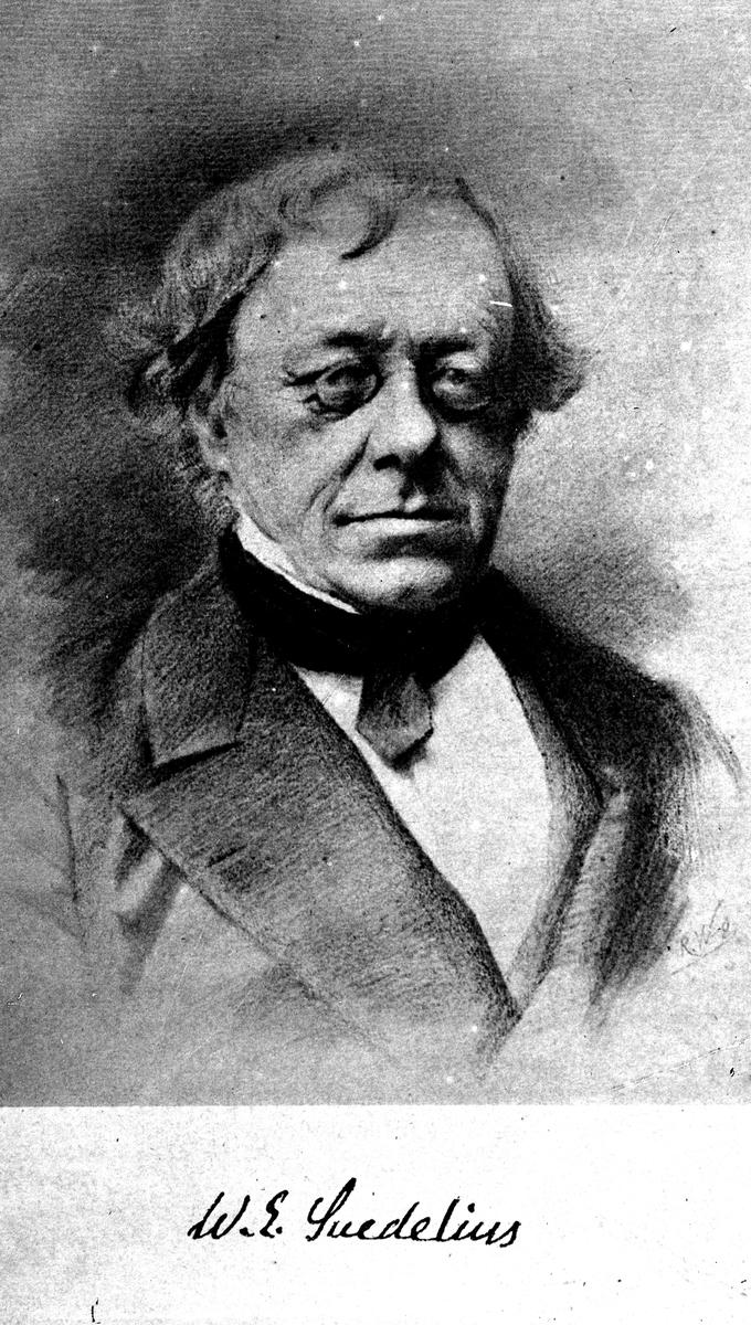 W E Svedelius. Reproduktion av KJ Österberg.
