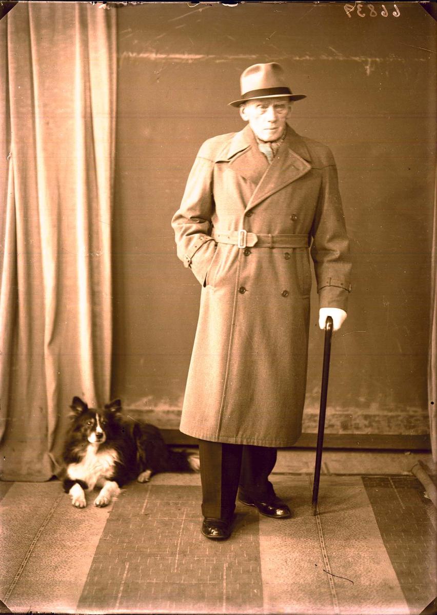 Portrett - Herre med hund.