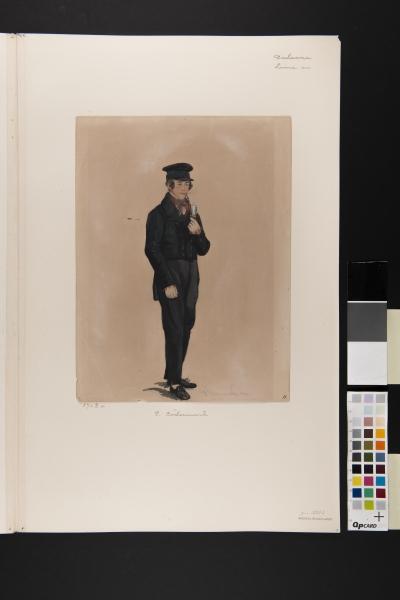 Man i dräkt. Akvarell av P Södermark 1850.
