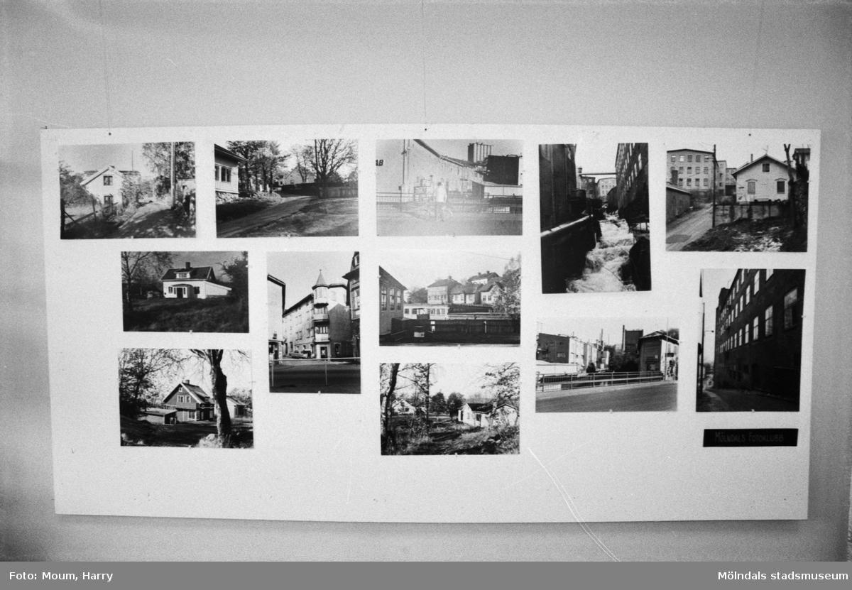"""Fotoutställning på Kållereds bibliotek, år 1983. """"Ett litet prov på Pierre Lindberg och Göran Johanssons Mölndals-bilder. Vår avfotografering ger inte bilderna full rättvisa.""""  För mer information om bilden se under tilläggsinformation."""