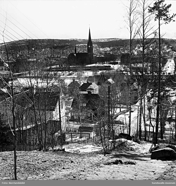 Vy över de äldre villakvarteren i Alliero tagen från Ludvigsbergsvägen, vid trappan ned mot Repslagarevägen.
