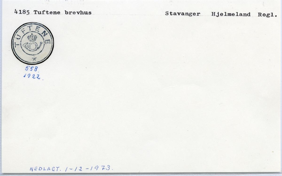 Stempelkatalog 4185 Tuftene, Stavanger, Hjelmeland, Rogaland