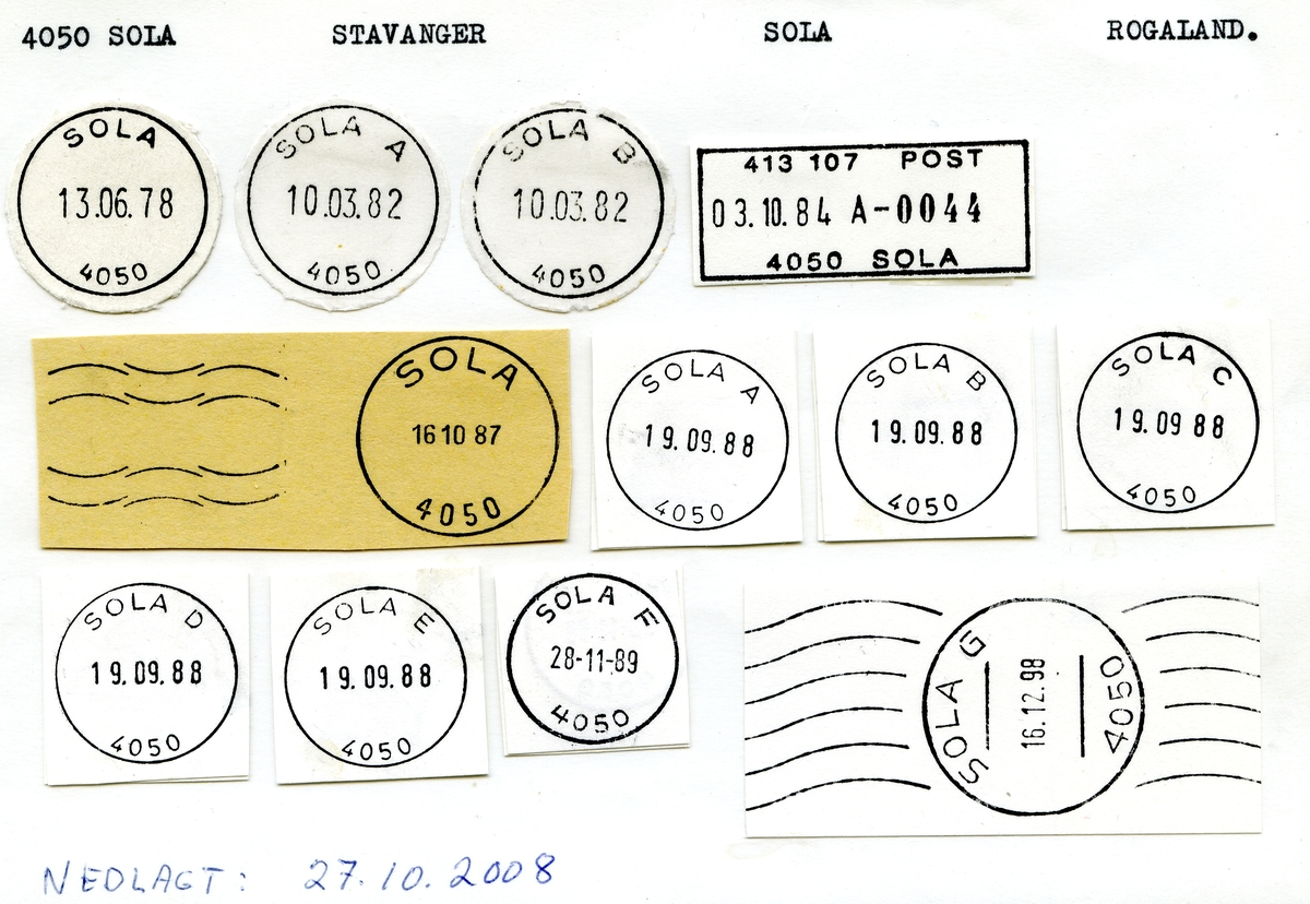 Stempelkatalog  4050 Sola, Sola kommune, Rogaland