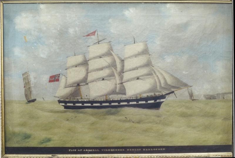 Seilskute for fulle seil, mot høyre. En fullrigger. Dovers klipper bak t.h.