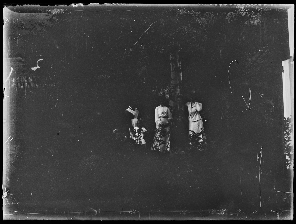 Fire damer og et barn står ved et tre, en ung mann ligger i gresset.