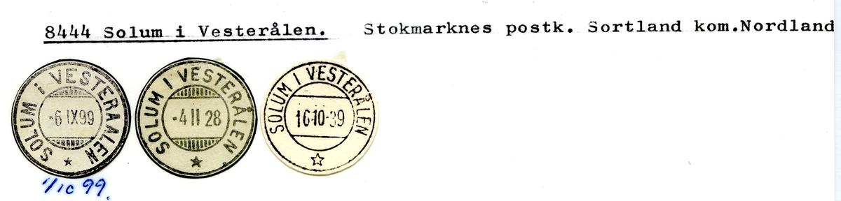 Stempelkatalog  8444 Solum i Vesterålen, Sortland kommune, Nordland