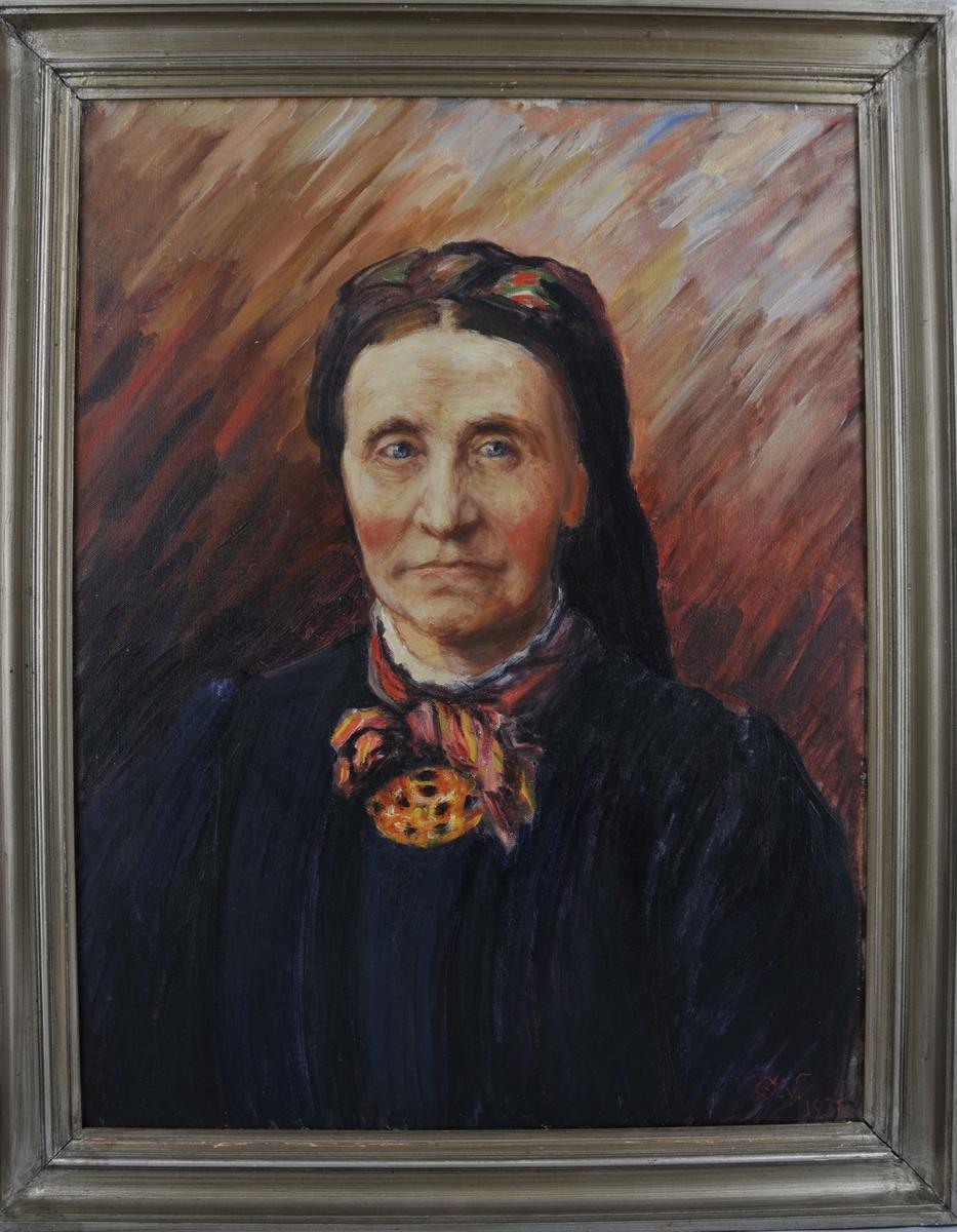 Portrett av Birgit Rogndal, etter fotografi.