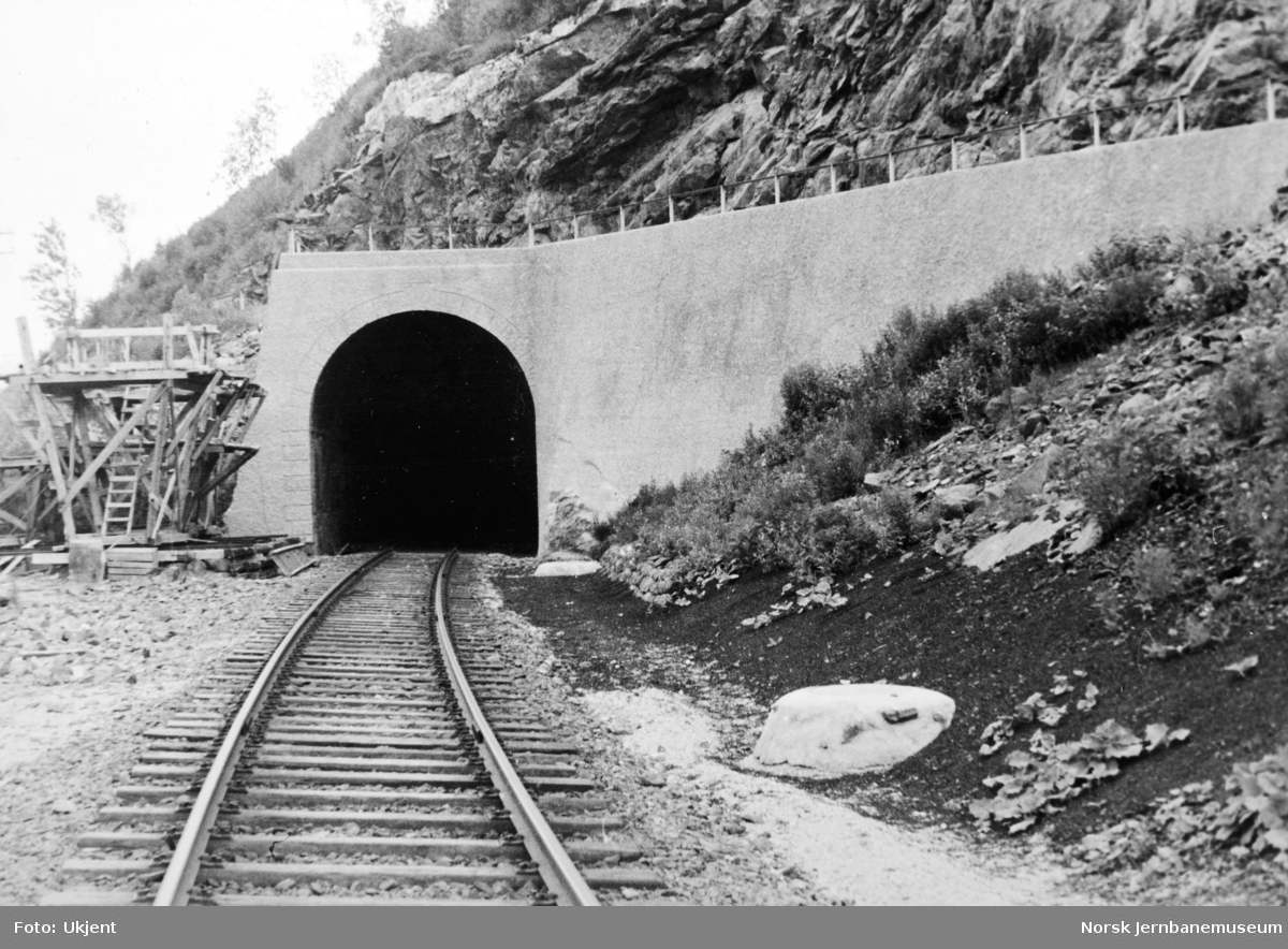Anlegget Mosjøen-Mo i Rana : Rynesåsen tunnel, ferdig utmuring ved søndre innslag, pel 514