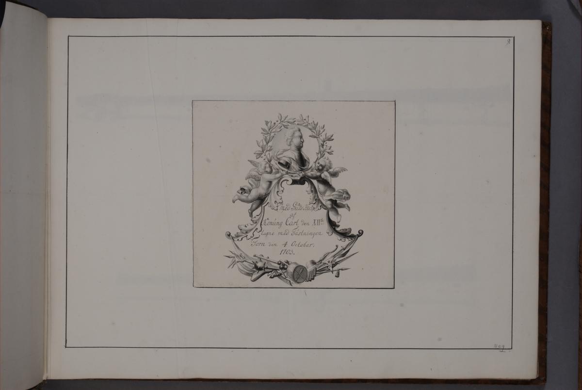 Kartusch till bokverk med avbildningar föreställande eldrör tagna som troféer av den svenska armén åren 1703-1706, utförda av syskonen Anna Maria och Philip Jakob Thelott. Avser troféer tagna med fästningen Torn den 4 oktober 1703. Kartuschen troligen utförd av Thomas Cunninghame 1746.