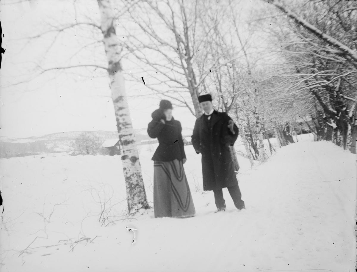 En mann og en kvinne står ved enden av en snødekket allé.