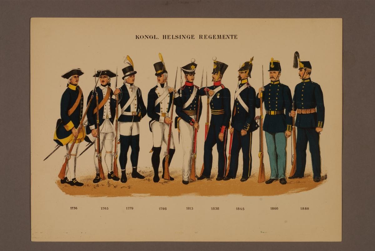Plansch i färgtryck med uniform för Hälsinge regemente för åren 1756-1888. Ingår i planschsamlingen Svenska krigsmaktens fordna och nuvarande munderingar utgiven av P.B Eklund 1900-1905.