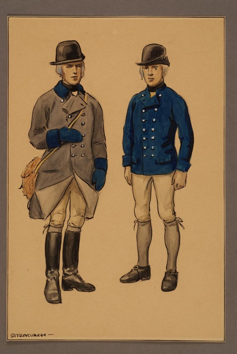 Plansch med uniform för trossdräng vid Västgöta kavalleriregemente 1788, ritad av Einar von Strokirch.
