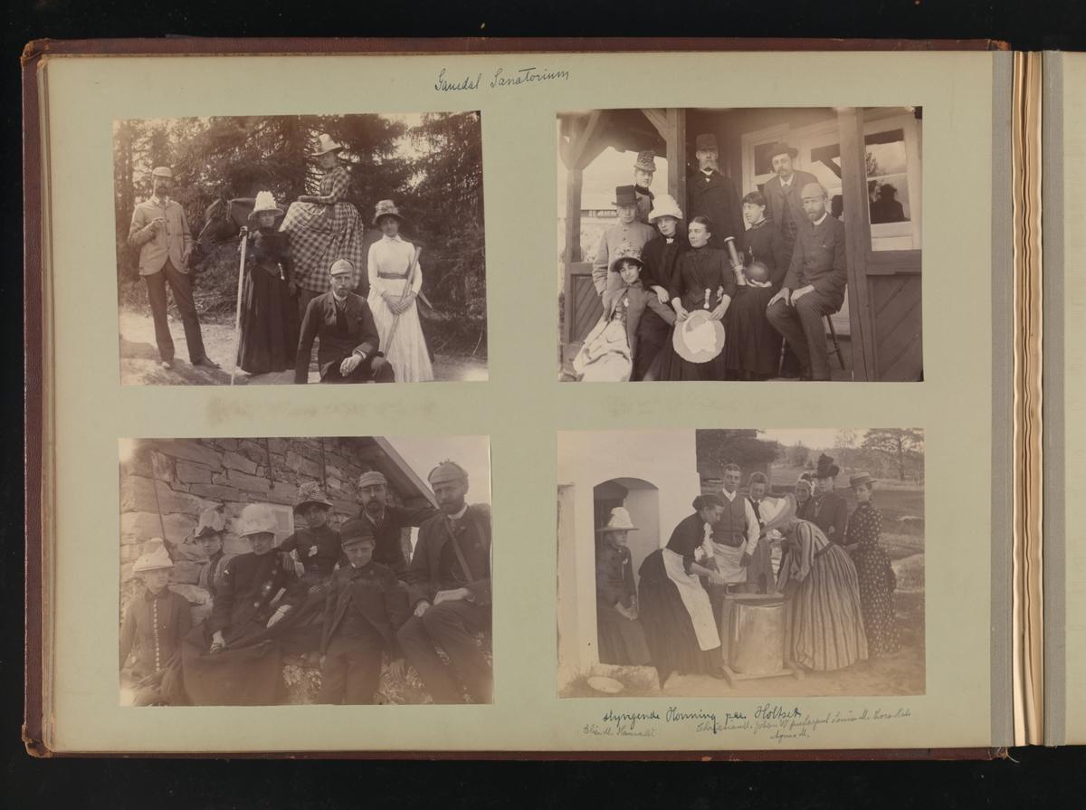 Albumside 17 av grågrønn kartong med fire gruppebilder.