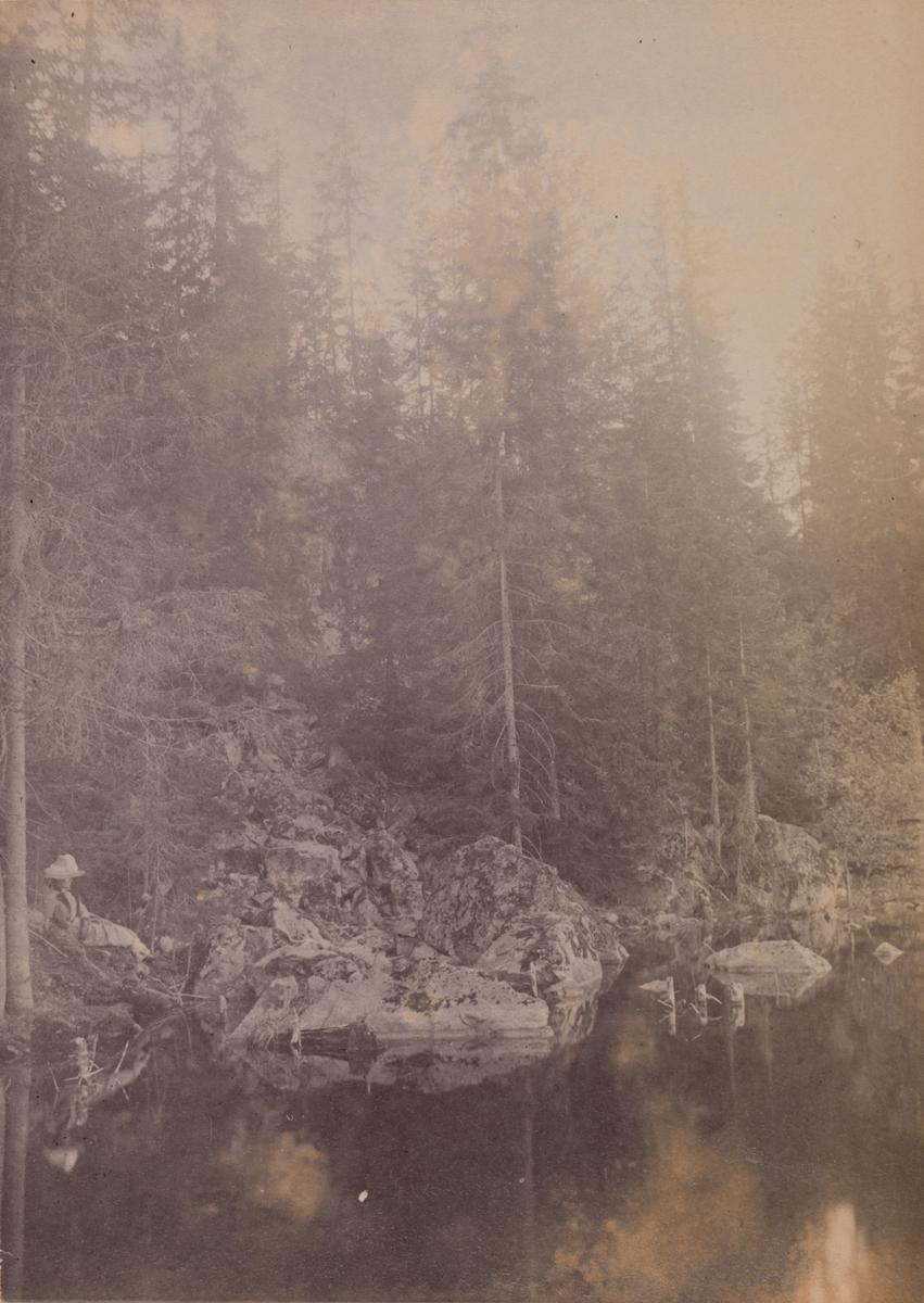 En dame sitter på en fjellknaus ved et vann i skogen.