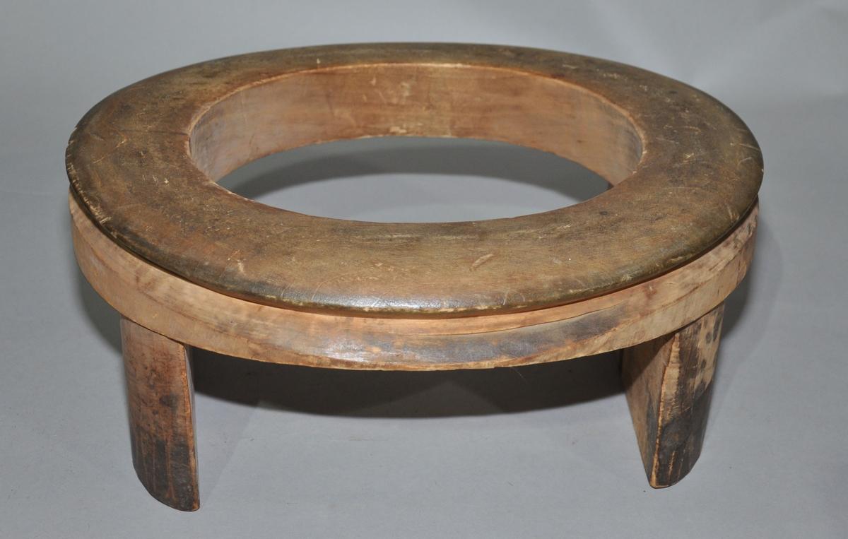 Består av en tykk ring av tre, som står på to trebiter påfestet ved sidene. Langs siden av ringen går det en innskåret linje.