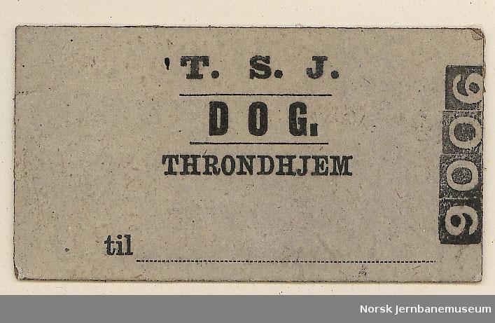 Billett T.S.J. (Trondhjem-Støren Jernbane), dog., fra Trondhjem, blanko, ubrukt
