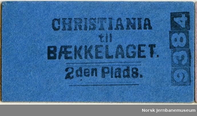 Billett Christiania-Bækkelaget, 2den Plads, ubrukt
