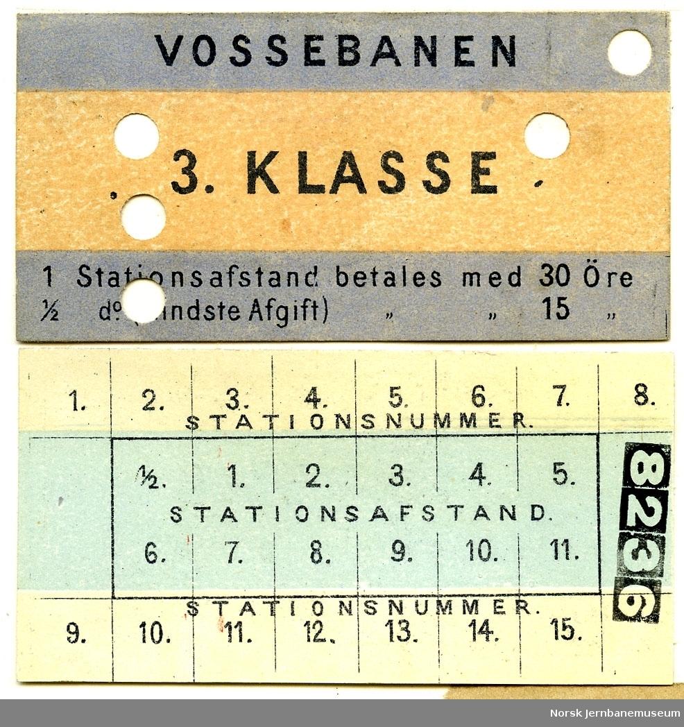 Vossebanen, 3. klasse, blanko med stasjonsnummer