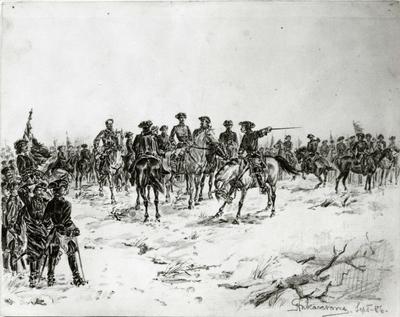 Tegning med blyant på papir av Karl XII med kavalleri
