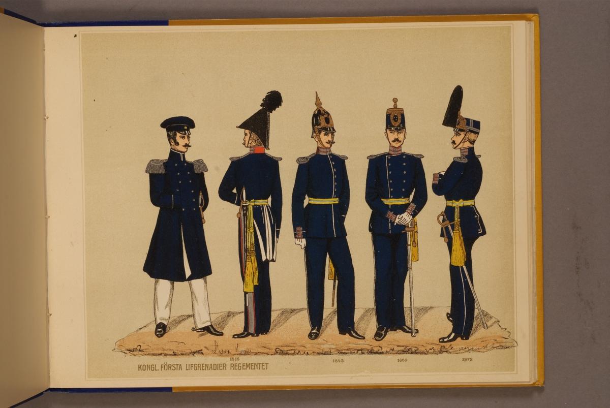 Plansch i färgtryck med uniform för Första livgrenadjärregementet för åren 1816-1872. Ingår i planschsamlingen Svenska arméns och flottans officersmunderingar utgiven av P.B Eklund.
