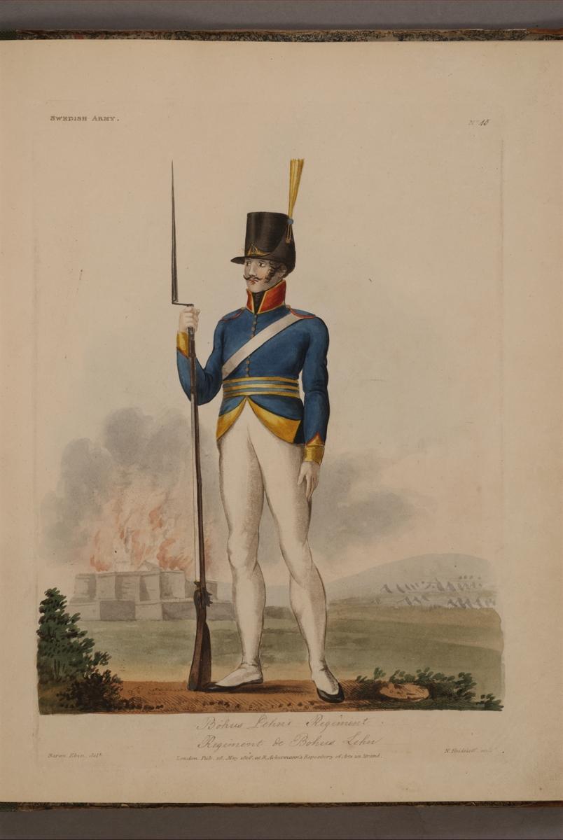 Plansch med uniform för Bousläns regemente, ritad av Frederic Eben i boken The Swedish Army, utgiven 1808.
