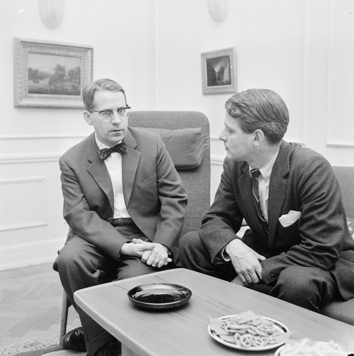Professorerna Gustav Utterström och Göran Ohlin, Uppsala, november 1962