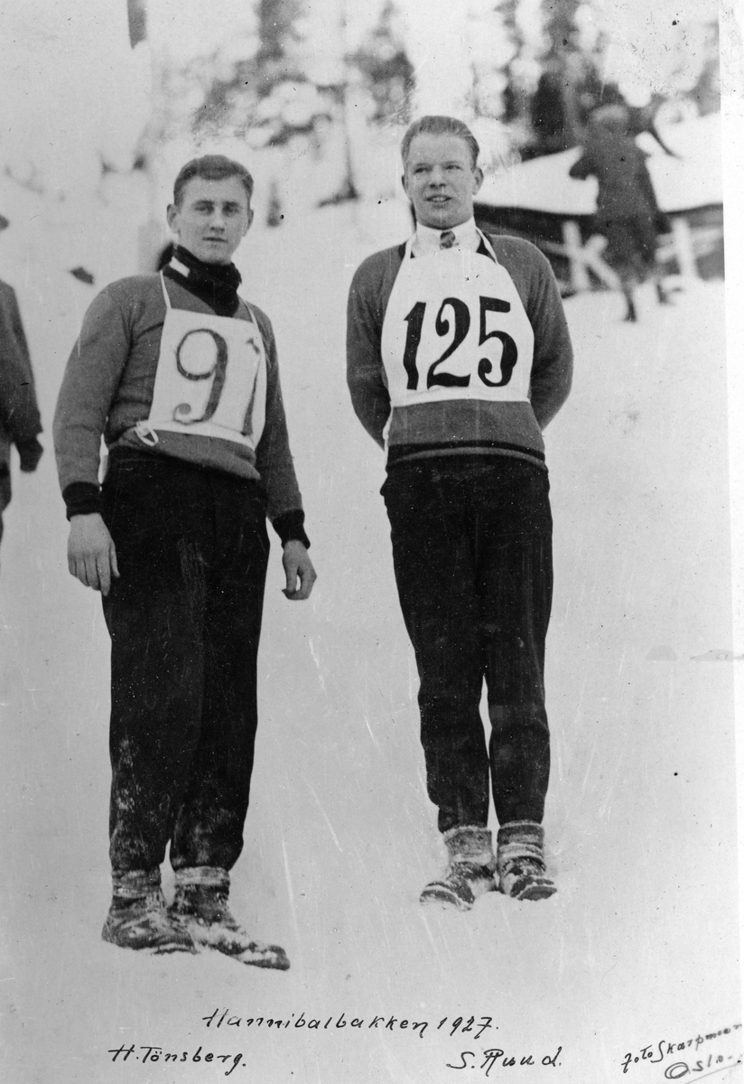 Kongsberg skiers Henning Tønsberg and Sigmund Ruud at Hannibalbakken 1927