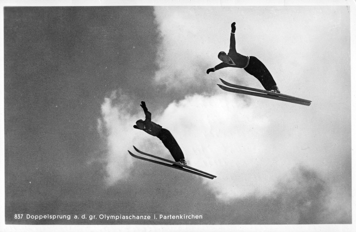 Stereo jump by Raymond Sørensen and Birger Ruud at Garmisch Partenkirchen in 1936