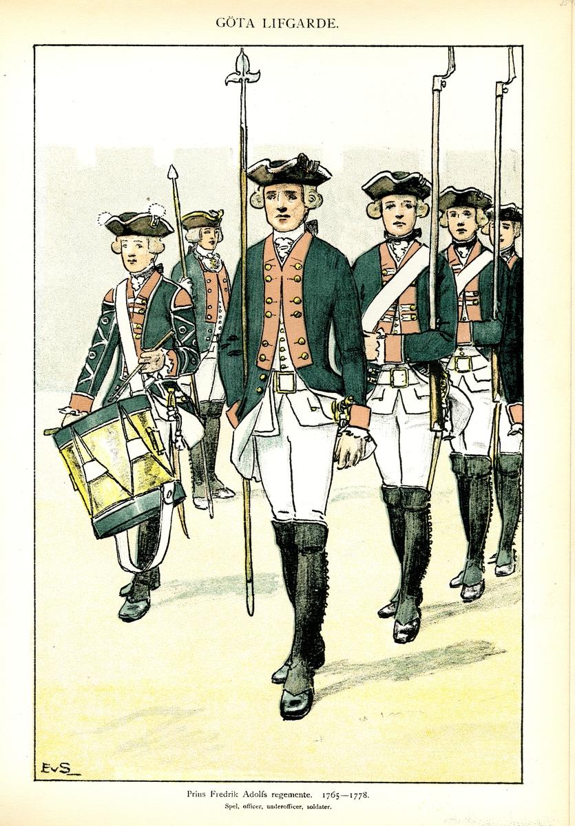 Plansch med uniform för spel, officer, underofficer och soldater vid Göta livgarde och Prins Fredrik Adolfs regemente för åren 1765-1778, ritad av Einar von Strokirch. Ingår i planschsamlingen Svenska arméns munderingar 1680-1905.