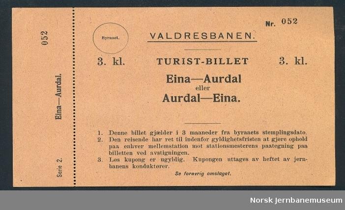 Turist-billet Eina-Aurdal eller Aurdal-Eina, 3. kl.