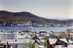 Utsikt fra Eineberget og nedover mot Kaarbøverkstedet. Gangs