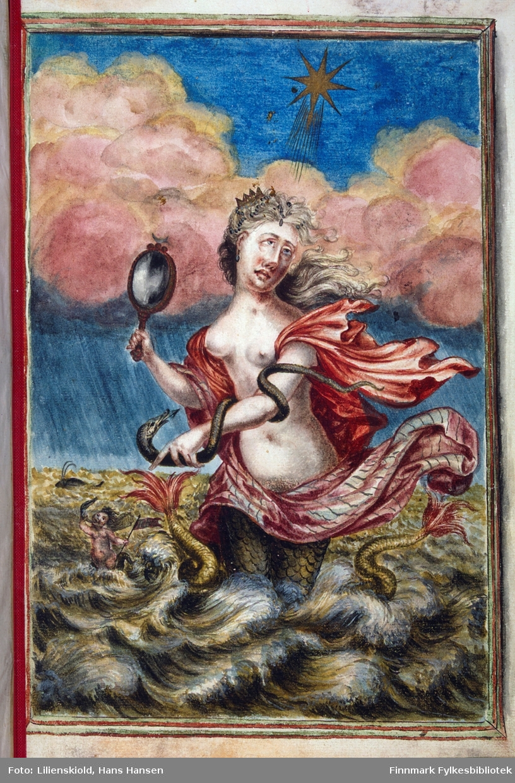 Nereiden Thetis som havdronning, i hånden holder hun Nordspeilet
