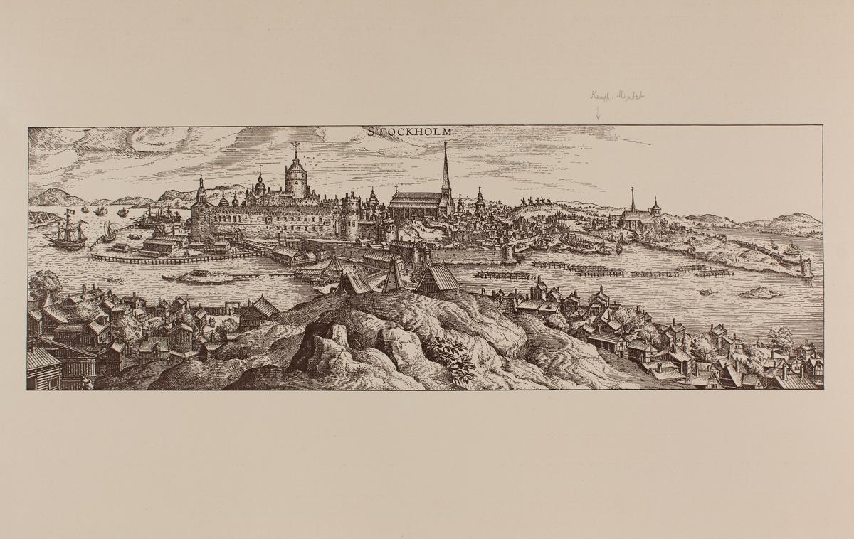 Reproduktion av kopparstick. Vy över Stockholm utförd av Frans Hohenberg 1588. Originalet finns på Kungliga Myntverket.