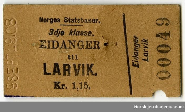 Billett Eidanger-Larvik, 3. kl.