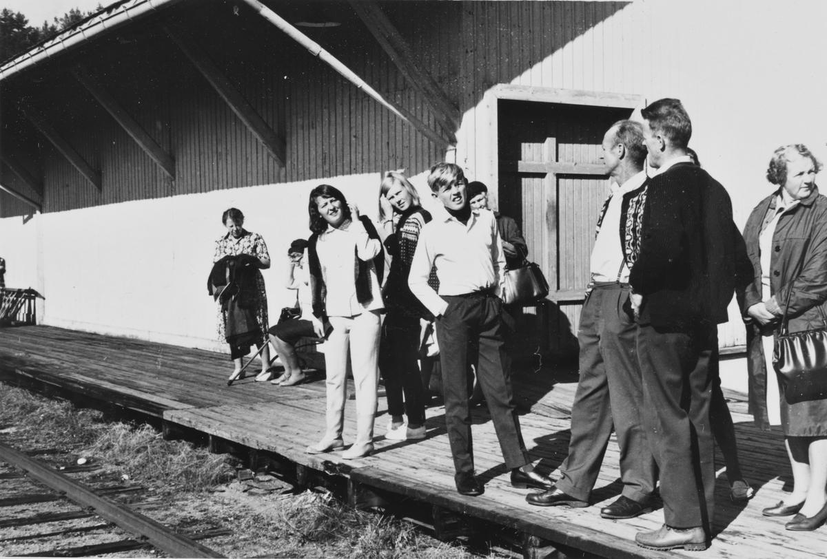 Bygdefolket møtte opp på Krøderen stasjon da A/L Hølandsbanens veterantog ankom.