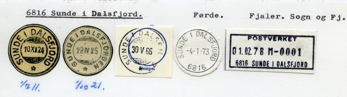 Stempelkatalog  6816 Sunde i Dalsfjord, Fjaler kommune, Sogn og Fjordane