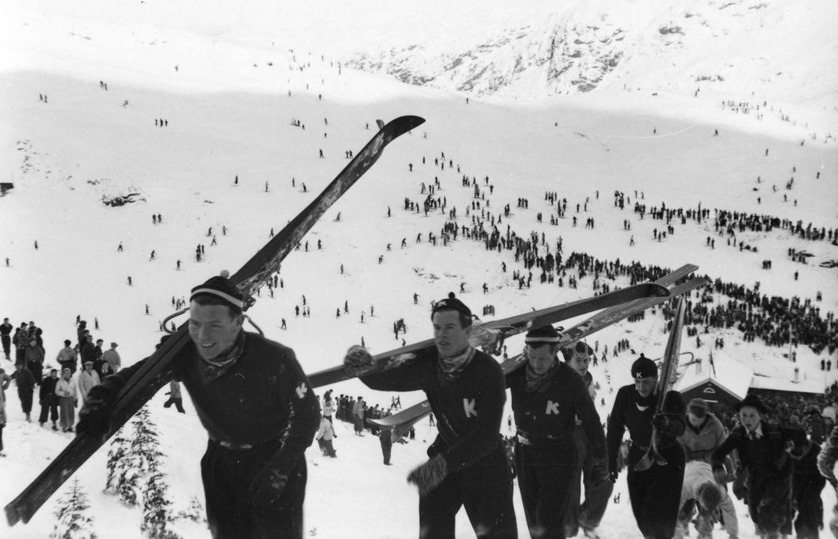 4 Kongsberg skiers outside Bergen
