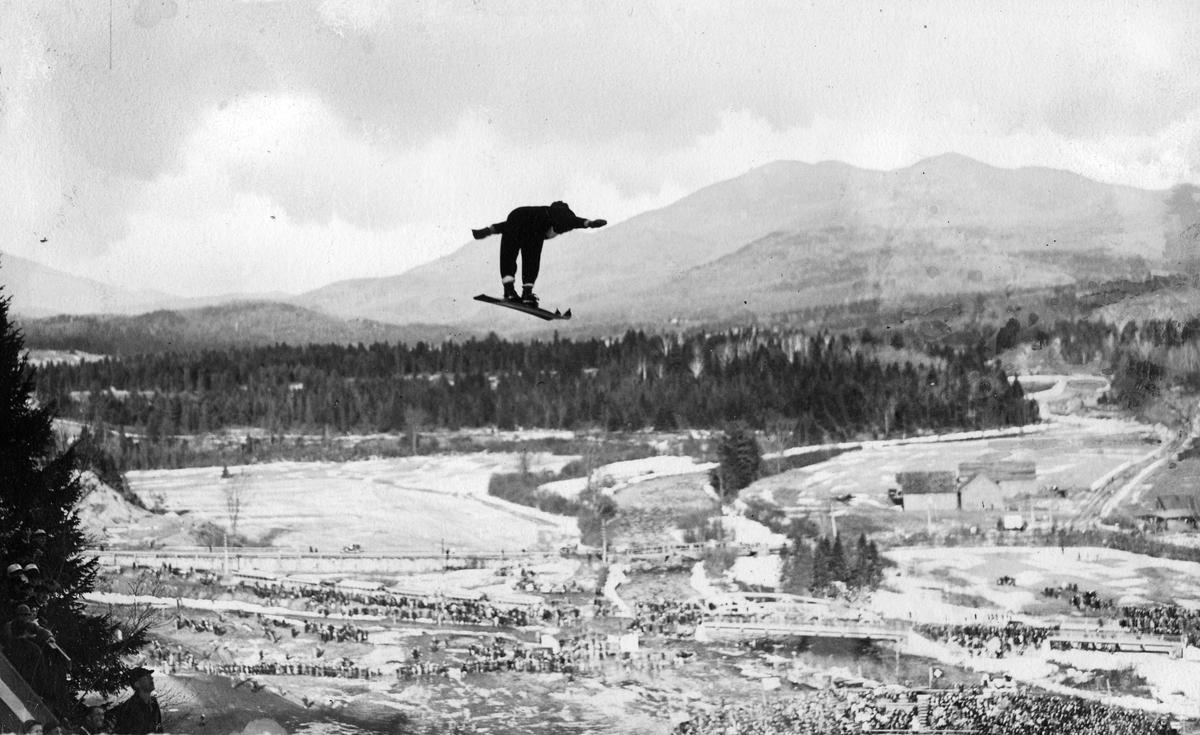 Birger Ruud during ski jump at Lake Placid