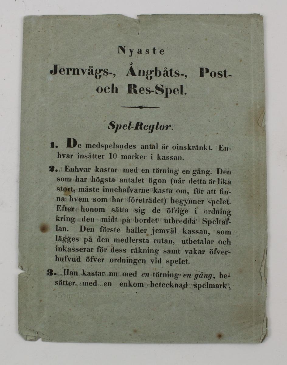 """Sällskapsspel: """"Nytt Jernvägs- Ångbåts- Post och resespel"""", avsett för tärning och marker."""