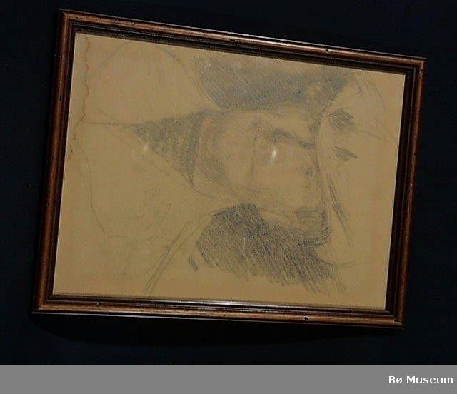 Mann med hatt, ulike portrett på andre sida