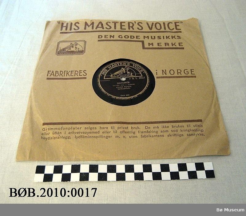 Grammofonplate i papiretui.