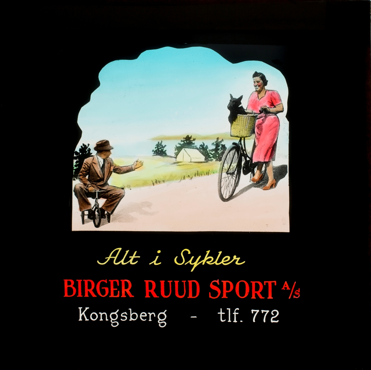 Slides promoting Birger Ruuds shop at Kongsberg